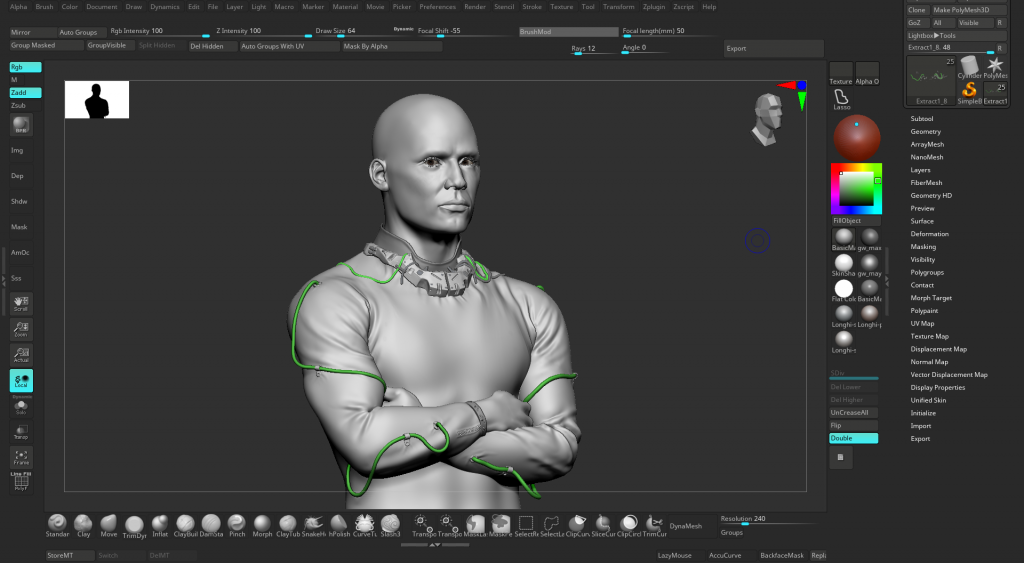 screenshot of the zbrush software, showing the 3D sculpted model, but without textures