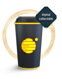 A black coffee mug with a shiny yellow Tau Station logo