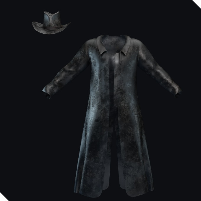 A used black leather coat and a leather hat