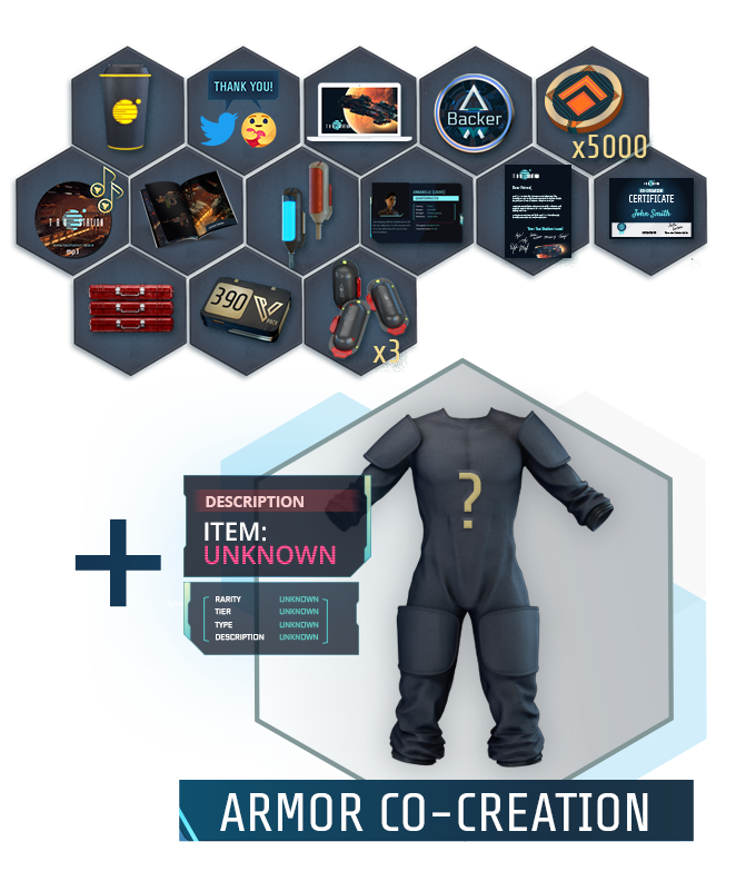 "Collage of all items of the ""Armor Designer"" package"