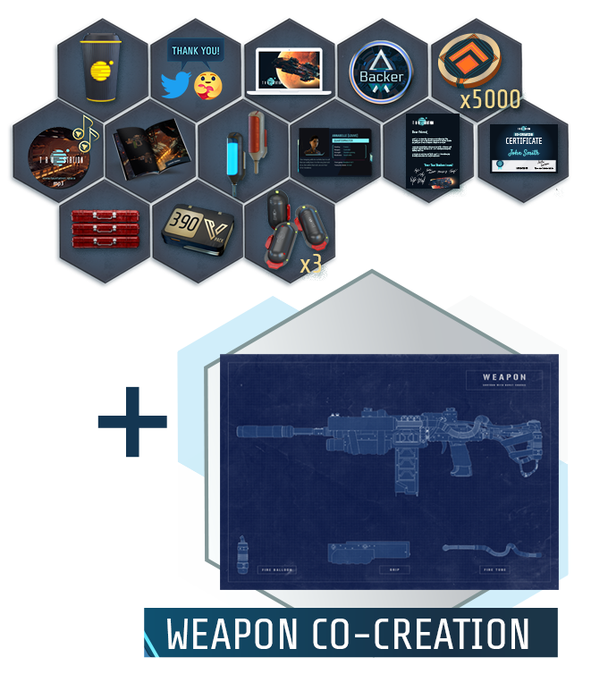 "Collage of all items of the ""Weapon Designer"" package"