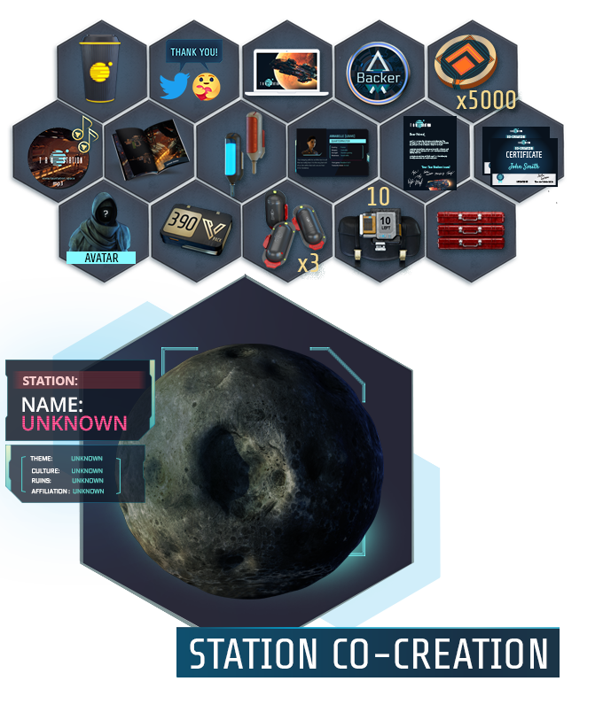 "Collage of all items of the ""Space Station Designer"" package"