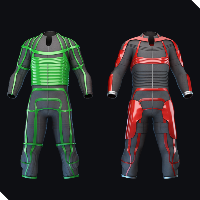 2 jump suits, one with shiny green, the other with shiny red applications