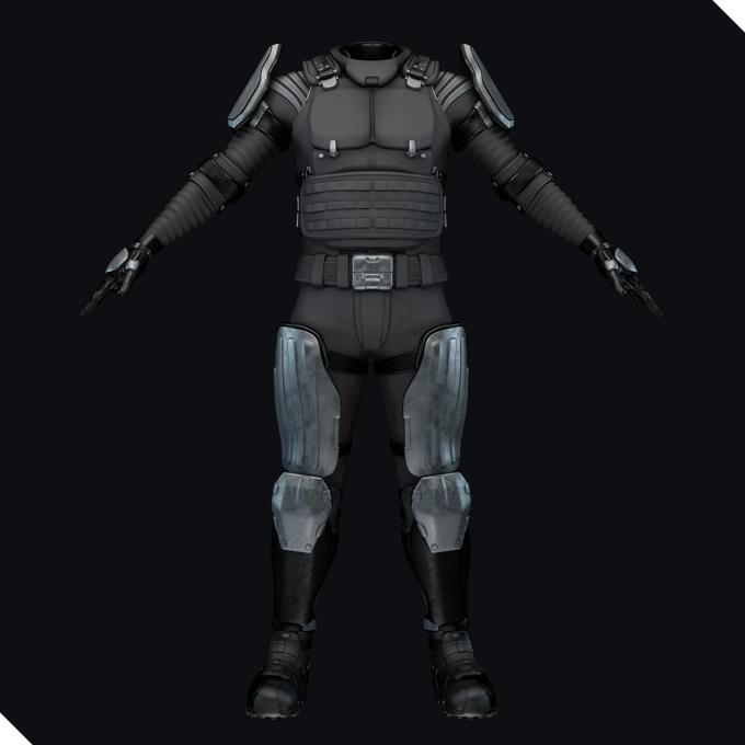 A complete combat suit with carbon body and metal shoulder plates
