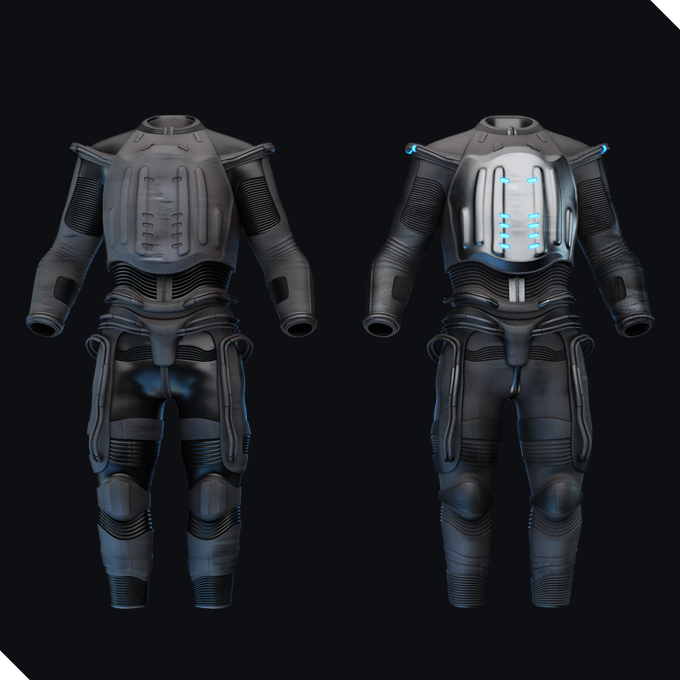 grey protection suits, with a robust breast plate, one made of metal