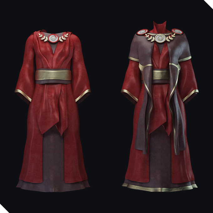 A fine red robe for female with the emblem of Gaule Protectorate