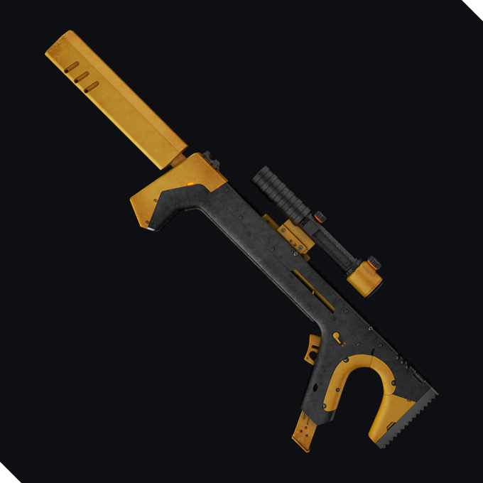A grey rifle with yellow applications and a visor, it has a simple shape as if created by a 3D printer