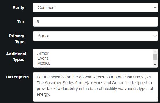 Admin backend of Tau Station, defining armor details like tier, rarity, description, etc.