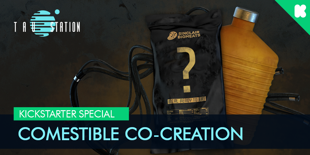 Comestible Co-Creation: a ration pack and a drink with a question mark
