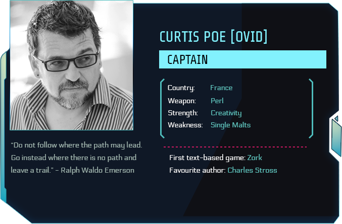 Tau Station ID card of Curtis Poe, project founder, and also member of the technical team