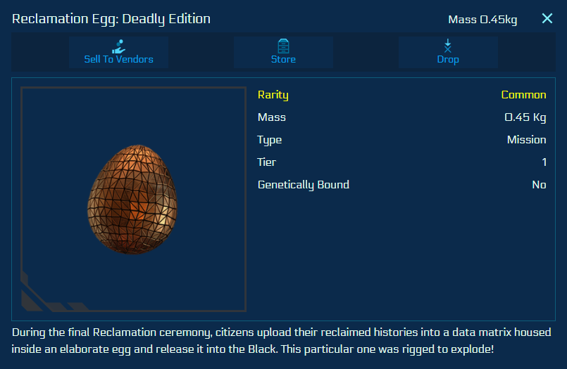 The egg collectible of the reclamation day event