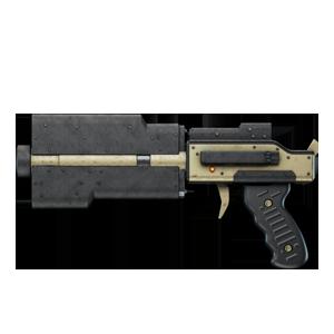 A beige short barrel rifle