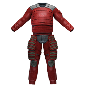 Padded full length suit made of red leather with femoral protection