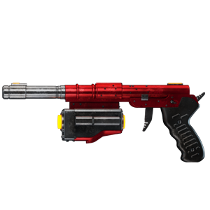 A red pistol with a quite long barrel