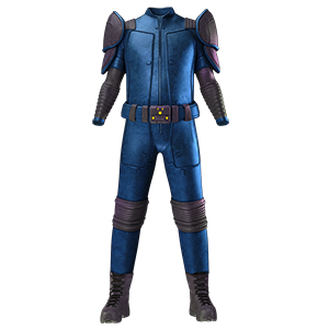 A shiny blue leather suit with a big belt, shoulder plates and boots