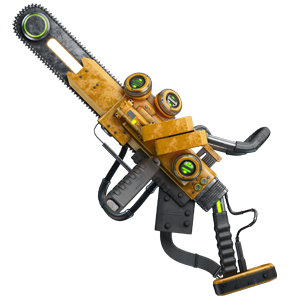 A heavy yellow chainsaw with various attachments