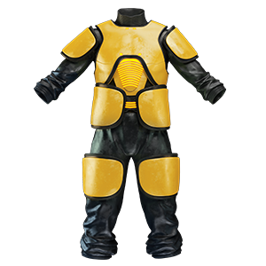 Black leather suit with yellow protection extensions like breast and shoulder plates