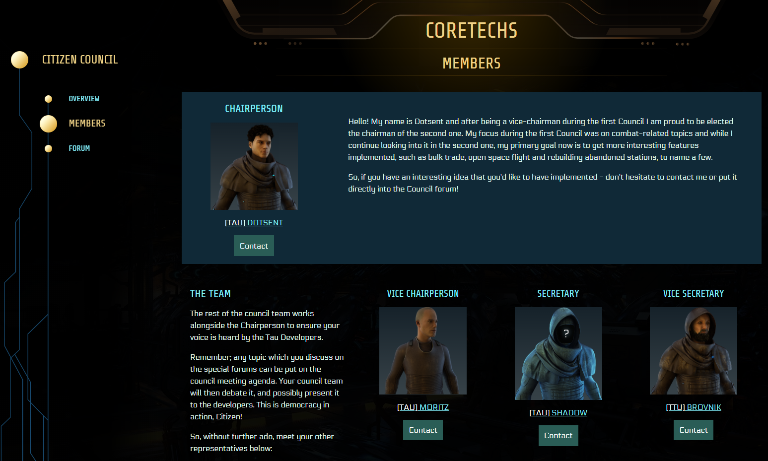 The Citizen Council page in the CORETECHS