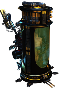 A tubic, shiny cloning pod with a vat grown clone in green liquid