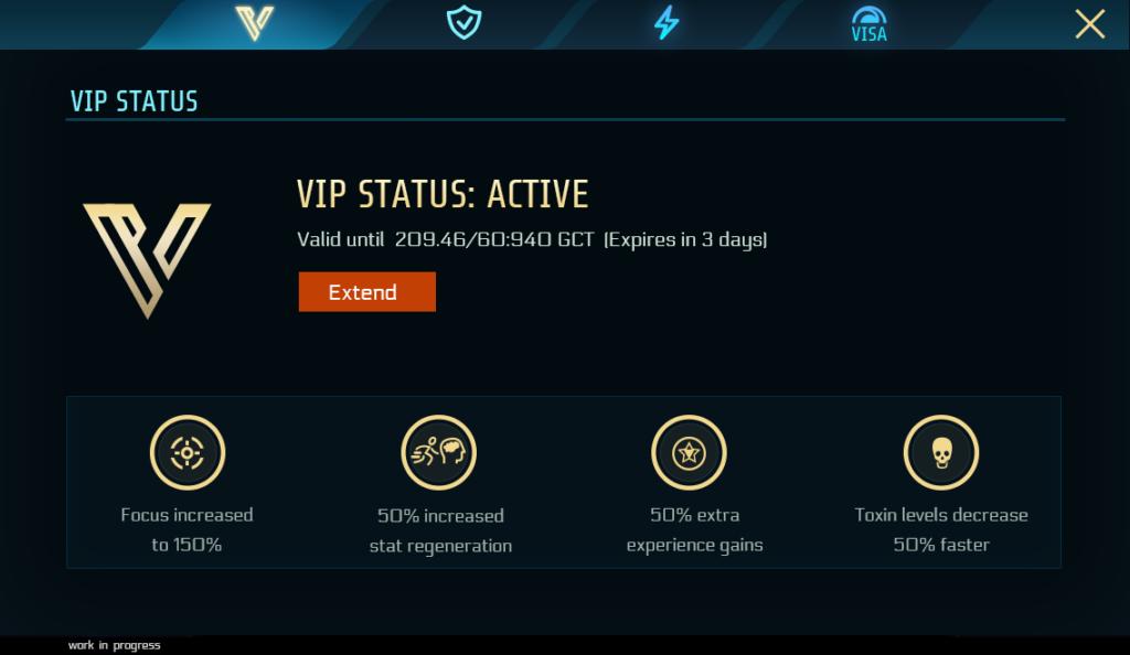Vip status: active tab. Mobile version